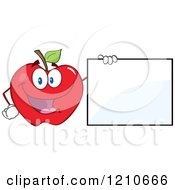 Cartoon Of A Red Apple Mascot Holding A Sign Royalty Free Vector Clipart