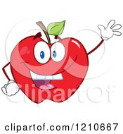 Cartoon Of A Red Apple Mascot Waving Royalty Free Vector Clipart