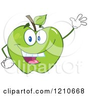 Cartoon Of A Green Apple Mascot Waving Royalty Free Vector Clipart by Hit Toon