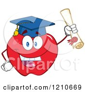 Cartoon Of A Red Apple Mascot Scholar Graduate Royalty Free Vector Clipart by Hit Toon
