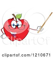 Red Apple Teacher Mascot Wearing Glasses Holding A Pointer Stick