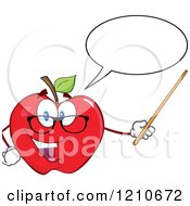 Cartoon Of A Talking Red Apple Teacher Mascot Wearing Glasses Holding A Pointer Stick Royalty Free Vector Clipart