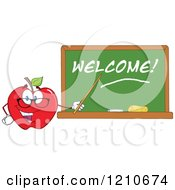 Red Apple Teacher Mascot Wearing Glasses Holding A Pointer Stick To A Welcome Chalk Board