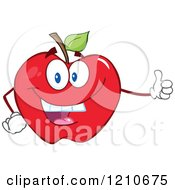 Cartoon Of A Red Apple Mascot Holding A Thumb Up Royalty Free Vector Clipart by Hit Toon