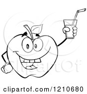 Cartoon Of A Black And White Apple Mascot Holding Up Juice Royalty Free Vector Clipart