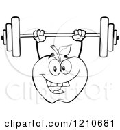Cartoon Of A Strong Black And White Apple Mascot Lifting A Barbell Royalty Free Vector Clipart