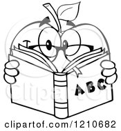 Cartoon Of A Black And White Apple Mascot With Glasses Reading An Alphabet Book Royalty Free Vector Clipart