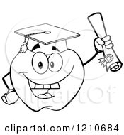 Cartoon Of A Black And White Apple Mascot Scholar Graduate Royalty Free Vector Clipart