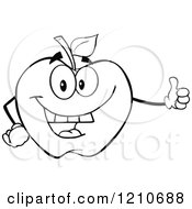 Cartoon Of A Black And White Apple Mascot Holding A Thumb Up Royalty Free Vector Clipart