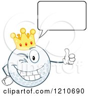 Cartoon Of A Happy Talking Crowned Golf Ball Mascot Holding A Thumb Up Royalty Free Vector Clipart