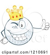 Cartoon Of A Happy Crowned Golf Ball Mascot Holding A Thumb Up Royalty Free Vector Clipart