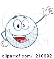 Cartoon Of A Friendly Waving Golf Ball Mascot Royalty Free Vector Clipart by Hit Toon