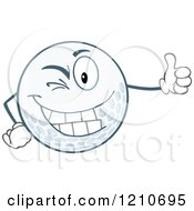 Cartoon Of A Happy Golf Ball Mascot Winking And Holding A Thumb Up Royalty Free Vector Clipart by Hit Toon