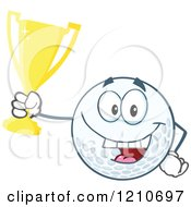 Cartoon Of A Happy Golf Ball Mascot Holding A Gold Trophy Cup Royalty Free Vector Clipart by Hit Toon