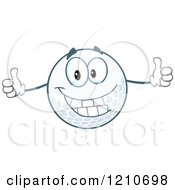 Cartoon Of A Happy Golf Ball Mascot Holding Two Thumbs Up Royalty Free Vector Clipart by Hit Toon