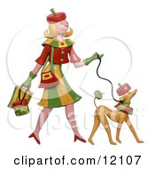 Clay Sculpture Of Woman And Dog Dressed Alike Walking Clipart Picture