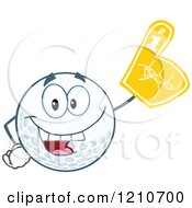 Cartoon Of A Happy Golf Ball Mascot Wearing A Foam Finger Royalty Free Vector Clipart by Hit Toon