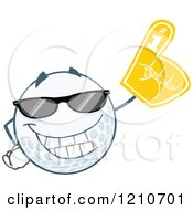 Cartoon Of A Cool Golf Ball Mascot Wearing A Foam Finger Royalty Free Vector Clipart