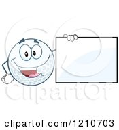 Cartoon Of A Happy Golf Ball Mascot With A Sign Royalty Free Vector Clipart by Hit Toon