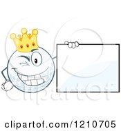 Cartoon Of A Winking Crowned Golf Ball Mascot With A Sign Royalty Free Vector Clipart by Hit Toon