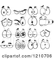 Cartoon Of Black And White Expressional Eyes Royalty Free Vector Clipart
