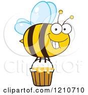 Happy Bee Flying With Honey