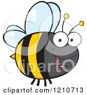 Cartoon Of A Happy Bee 2 Royalty Free Vector Clipart by Hit Toon