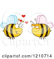 Cartoon Of A Happy Bee Couple Royalty Free Vector Clipart by Hit Toon