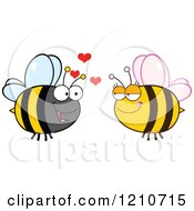 Cartoon Of A Happy Bee Couple 2 Royalty Free Vector Clipart by Hit Toon