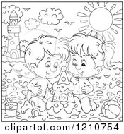 Clipart Of Outlined And Colored Children Building A Sand Castle On A Summer Time Beach Royalty Free Vector Illustration by Alex Bannykh
