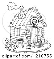 Clipart Of A Sketched Black And White Christmas Gingerbread Shack Royalty Free Illustration