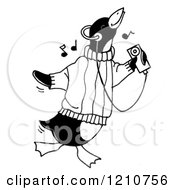 Clipart Of A Sketched Black And White Penguin Listening To Music On An MP3 Player Royalty Free Illustration