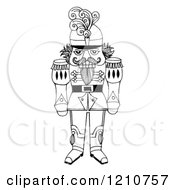 Clipart Of A Sketched Black And White Christmas Nutcracker General - Royalty Free Illustration by LoopyLand