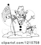 Clipart Of A Sketched Black And White Patriotic Snowman - Royalty Free Illustration by LoopyLand #COLLC1210758-0091