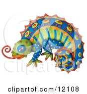 Clay Sculpture Of A Colorful Chameleon Lizard With Bright Decorative Patterns Sticking Out Its Tongue