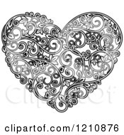 Clipart Of A Black And White Vine Floral Heart Royalty Free Vector Illustration