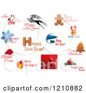 Clipart Of Holiday Greetings 4 Royalty Free Vector Illustration