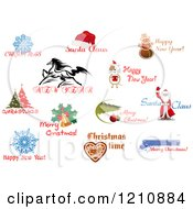 Clipart Of Holiday Greetings 2 Royalty Free Vector Illustration