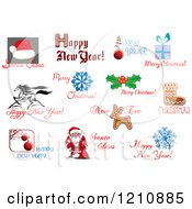 Clipart Of Holiday Greetings 3 Royalty Free Vector Illustration