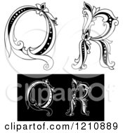 Clipart Of A Black And White Vintage Floral Letter Q And R Royalty Free Vector Illustration