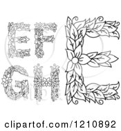 Clipart Of A Black And White Floral Letters E F G And H Royalty Free Vector Illustration