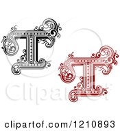 Clipart Of A Black And White And Red Vintage Letter T Royalty Free Vector Illustration