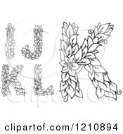 Clipart Of Black And White Floral Letters I J K And L Royalty Free Vector Illustration