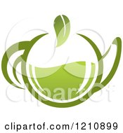 Clipart Of A Pot Of Green Tea With Leaves 4 Royalty Free Vector Illustration