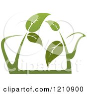 Clipart Of A Pot Of Green Tea With Leaves 5 Royalty Free Vector Illustration