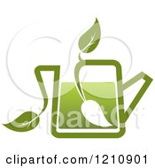 Clipart Of A Pot Of Green Tea With Leaves 6 Royalty Free Vector Illustration