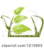 Clipart Of A Pot Of Green Tea With Leaves 8 Royalty Free Vector Illustration