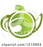 Clipart Of A Pot Of Green Tea With Leaves 7 Royalty Free Vector Illustration