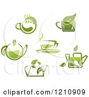 Clipart Of Green Tea Pots And Cups With Leaves 2 Royalty Free Vector Illustration