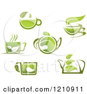 Clipart Of Green Tea Pots And Cups With Leaves Royalty Free Vector Illustration